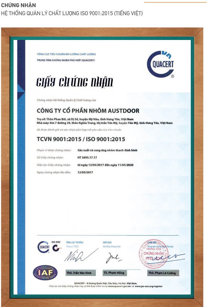 Chung nhan he thong quan ly chat luong ISO 900 2015